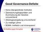 good governance defizite