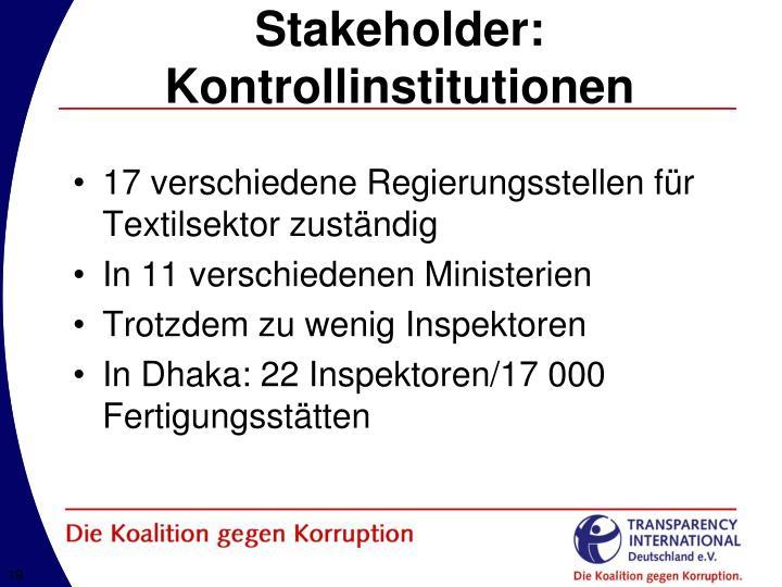 Stakeholder: Kontrollinstitutionen