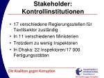 stakeholder kontrollinstitutionen