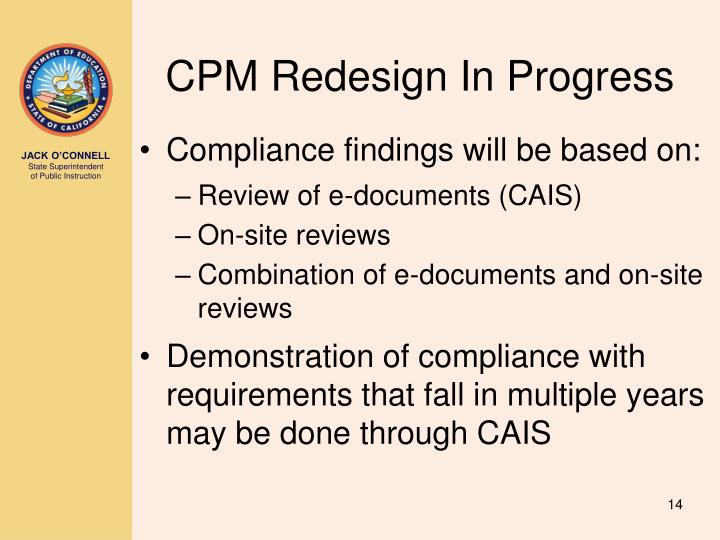 CPM Redesign In Progress