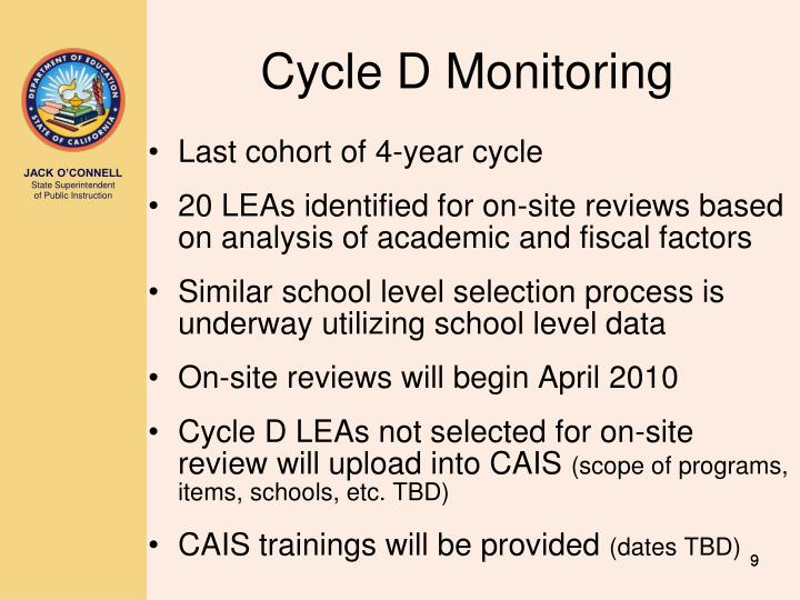 Cycle D Monitoring