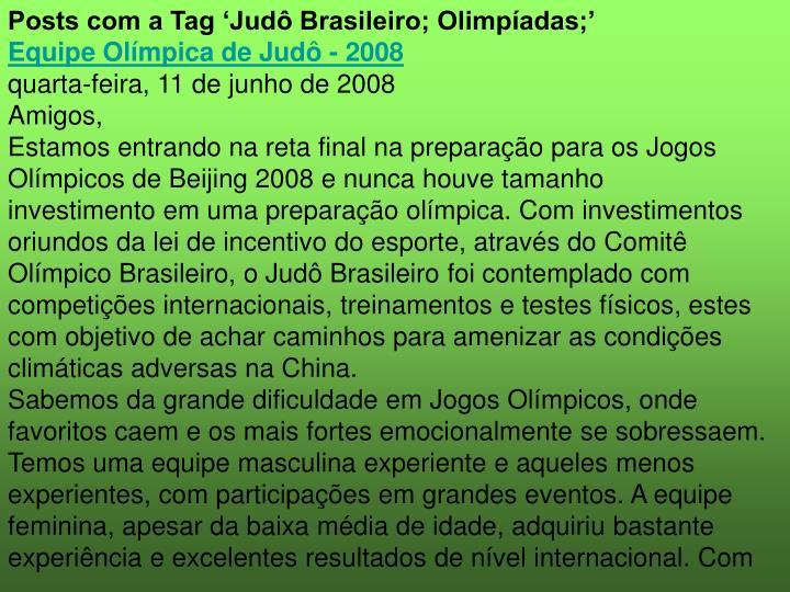 Posts com a Tag 'Judô Brasileiro; Olimpíadas;'