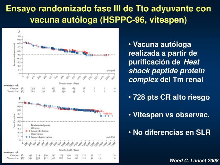 Ensayo randomizado fase III de Tto adyuvante con vacuna autóloga (HSPPC-96, vitespen)