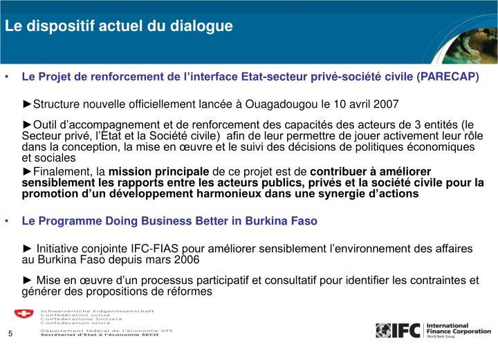 Le Projet de renforcement de l'interface Etat-secteur privé-société civile (PARECAP)