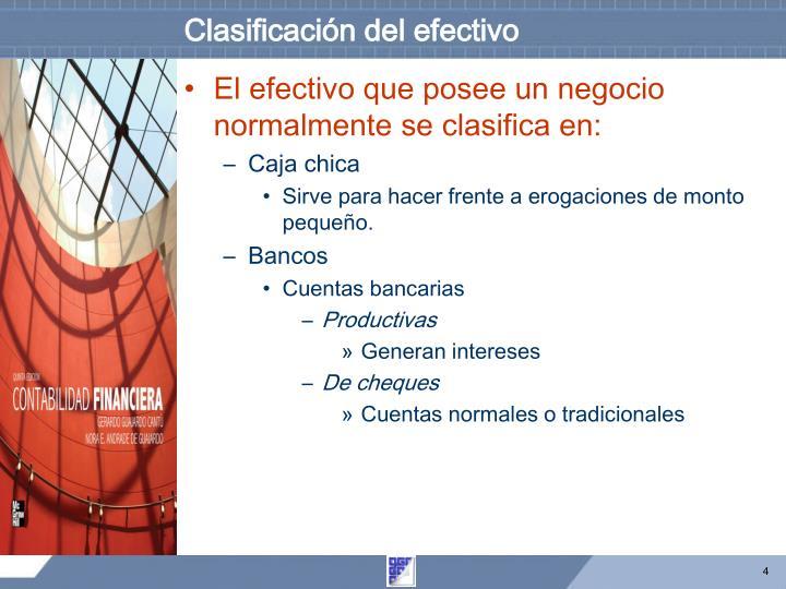 Clasificación del efectivo