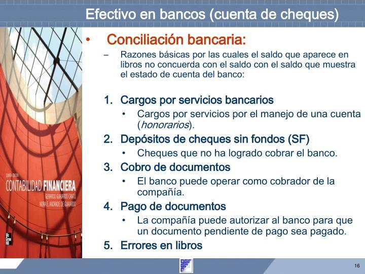 Efectivo en bancos (cuenta de cheques)
