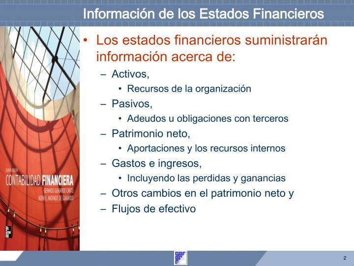 Información de los Estados Financieros