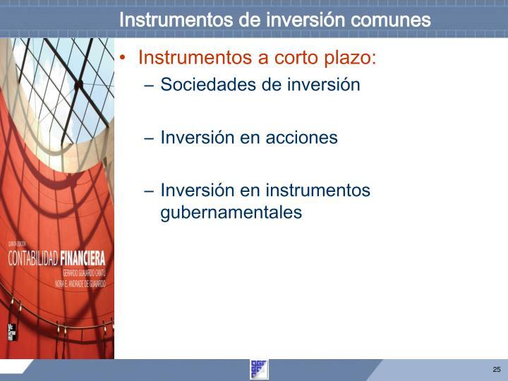 Instrumentos de inversión comunes