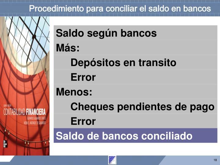 Procedimiento para conciliar el saldo en bancos