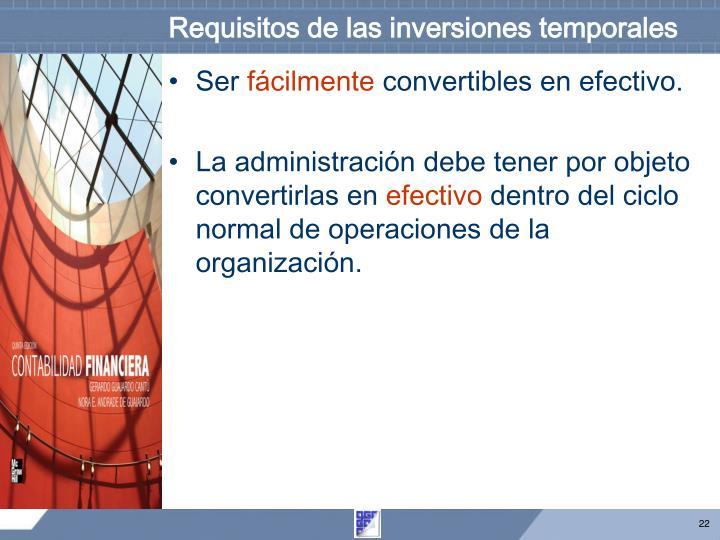 Requisitos de las inversiones temporales