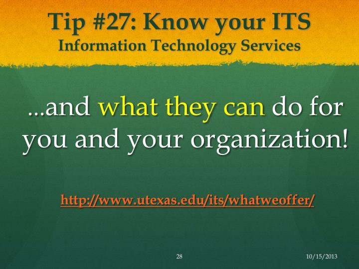Tip #27: Know your ITS