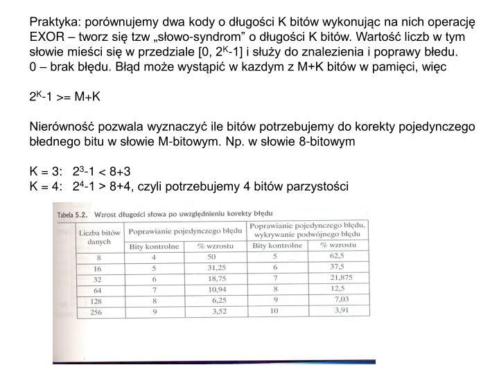 Praktyka: porównujemy dwa kody o długości K bitów wykonując na nich operację