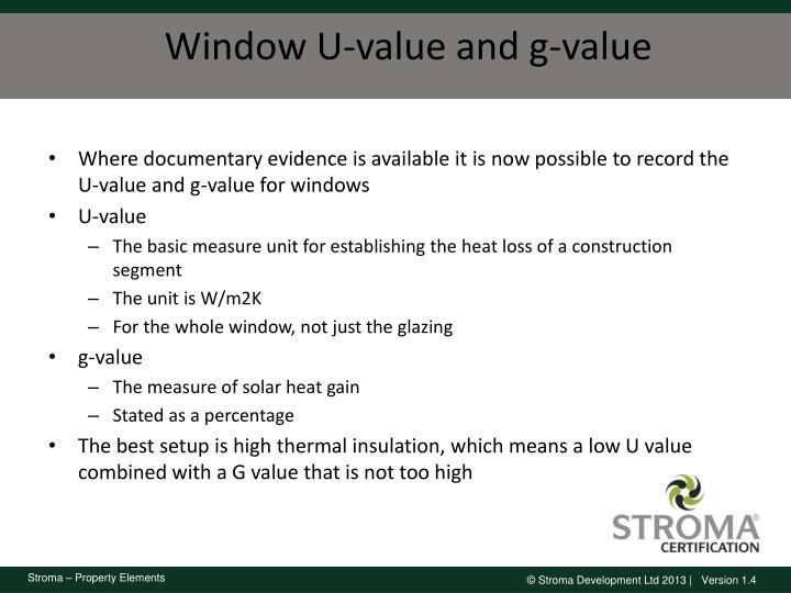 Window U-value and g-value