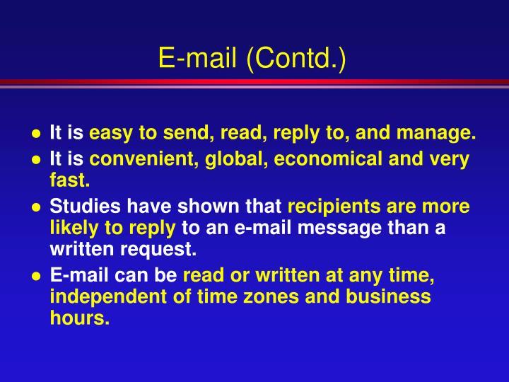 E-mail (Contd.)