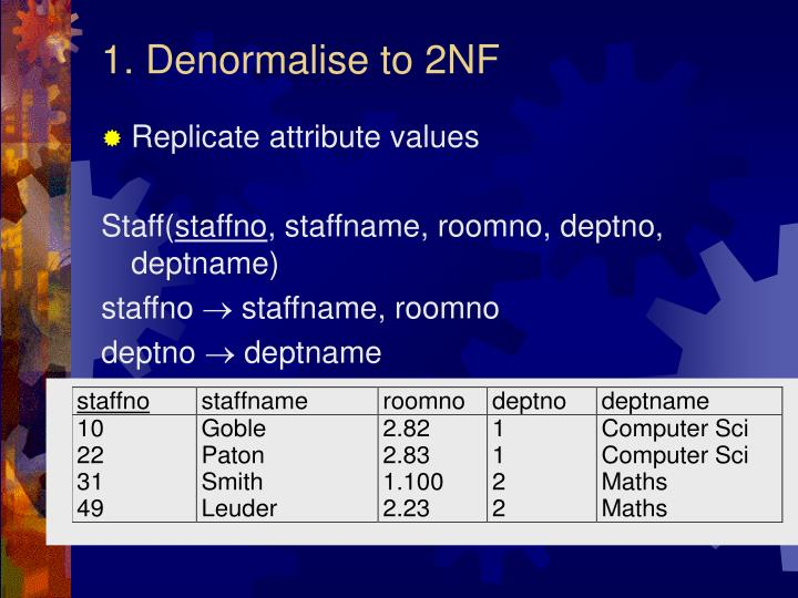 1. Denormalise to 2NF