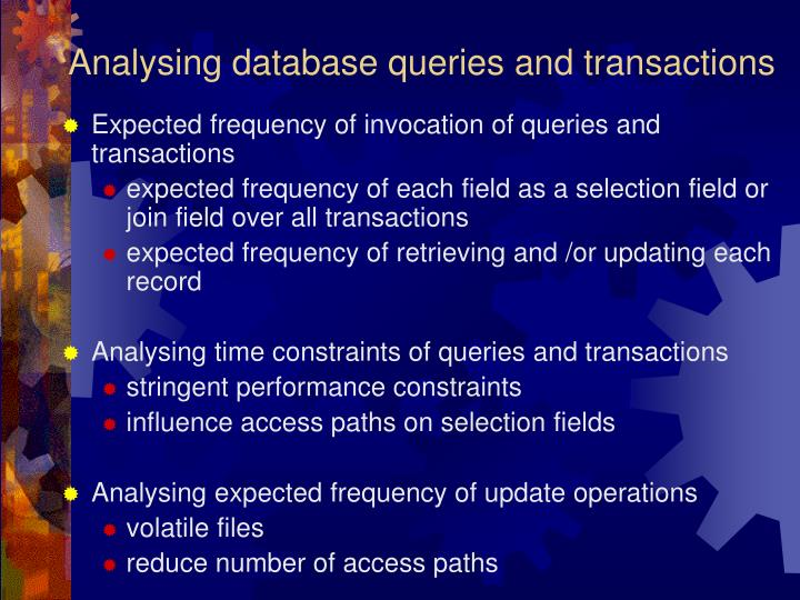 Analysing database queries and transactions