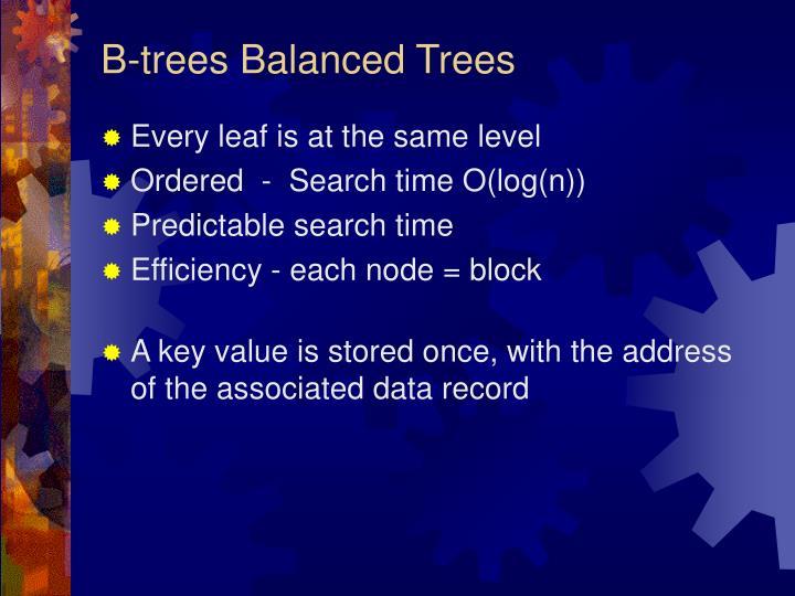 B-trees Balanced Trees