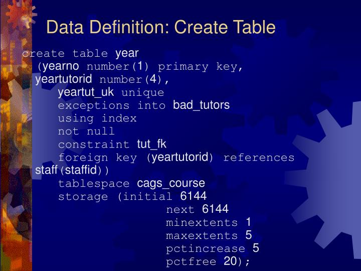 Data Definition: Create Table