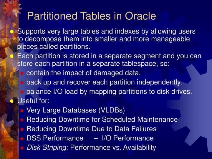 Partitioned Tables in Oracle