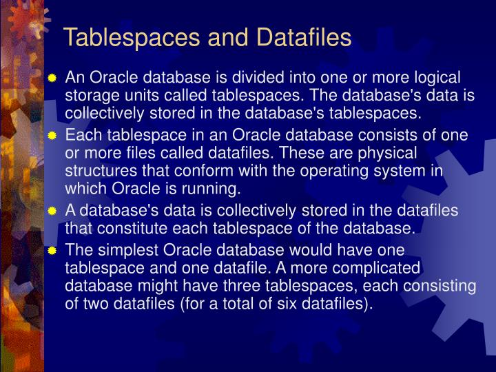 Tablespaces and Datafiles