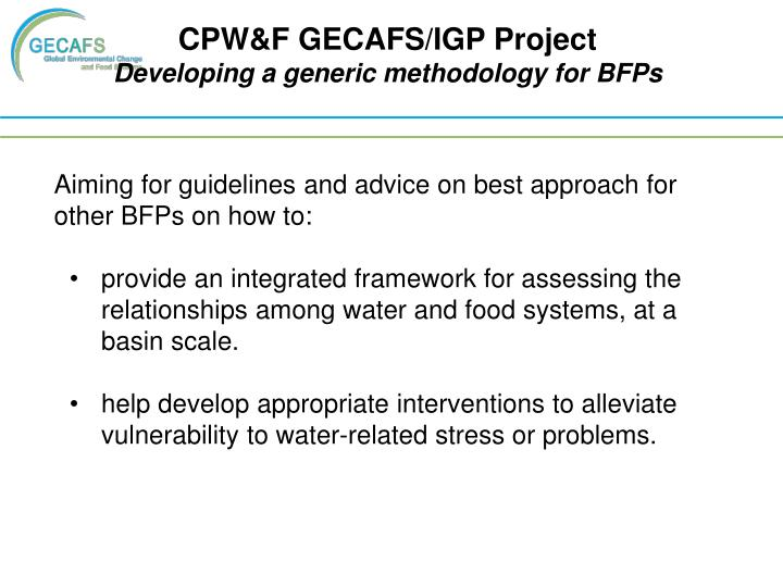 CPW&F GECAFS/IGP Project