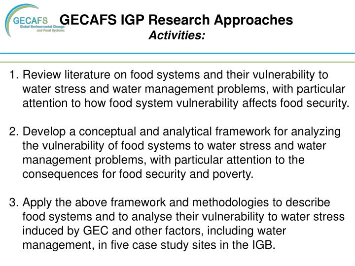 GECAFS IGP Research Approaches