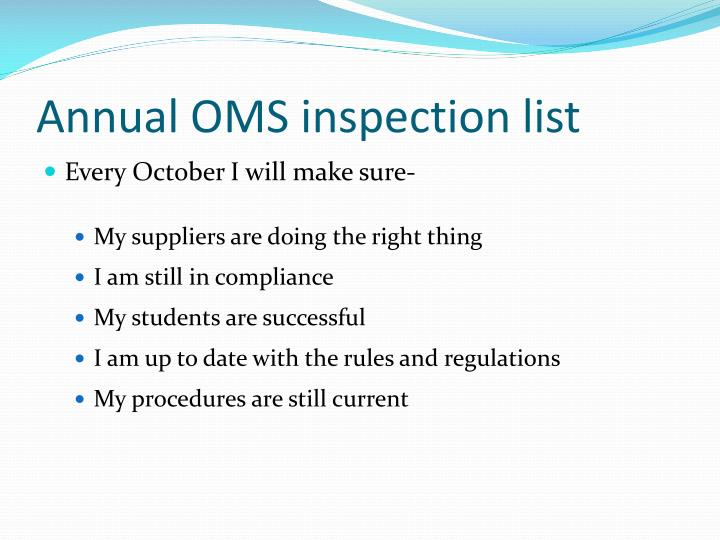 Annual OMS inspection list