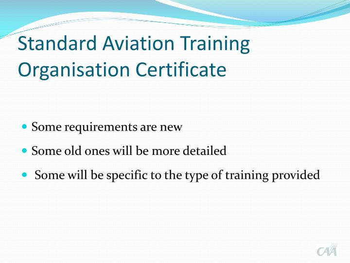 Standard Aviation Training Organisation Certificate