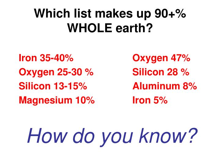 Which list makes up 90+% WHOLE earth?