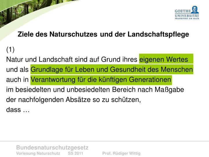 Ziele des Naturschutzes