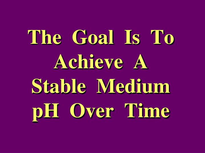 The  Goal  Is  To  Achieve  A  Stable  Medium  pH  Over  Time