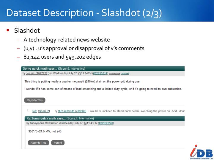 Dataset Description - Slashdot (2/3)