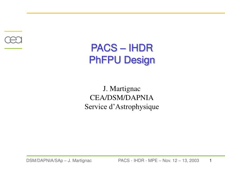 Pacs ihdr phfpu design