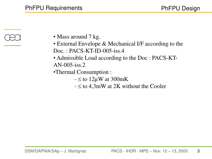 Phfpu requirements