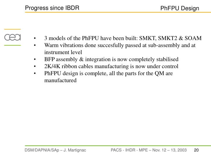Progress since IBDR