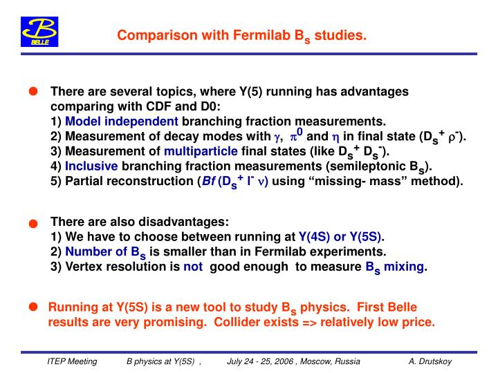 Comparison with Fermilab B