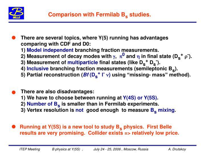 Comparison with Fermilab B