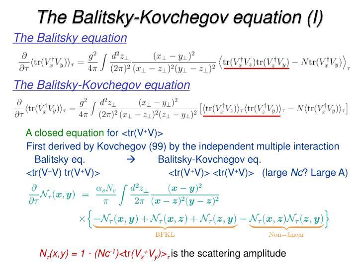 The Balitsky-Kovchegov equation (I)