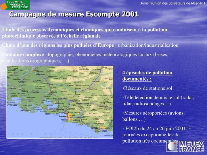 Campagne de mesure Escompte 2001