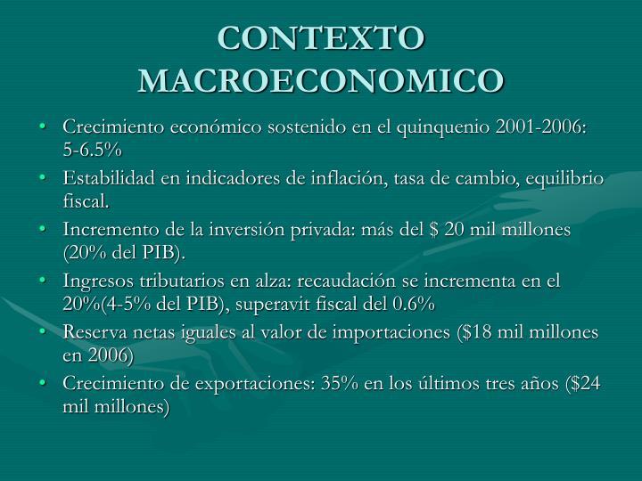 CONTEXTO MACROECONOMICO