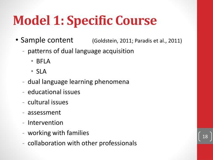 Model 1: Specific Course
