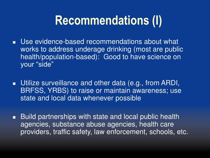 Recommendations (I)