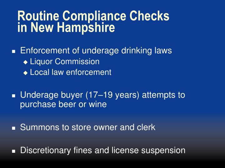 Routine Compliance Checks