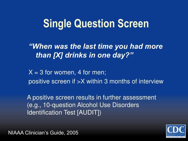 Single Question Screen