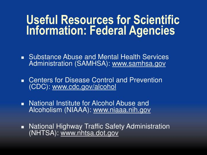 Useful Resources for Scientific Information: Federal Agencies