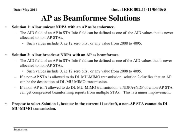 AP as Beamformee Solutions