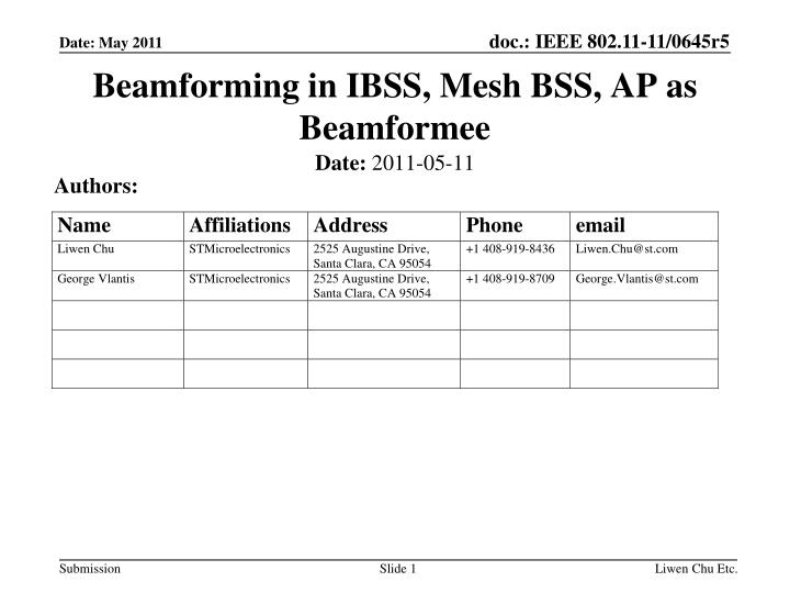 Beamforming in ibss mesh bss ap as beamformee