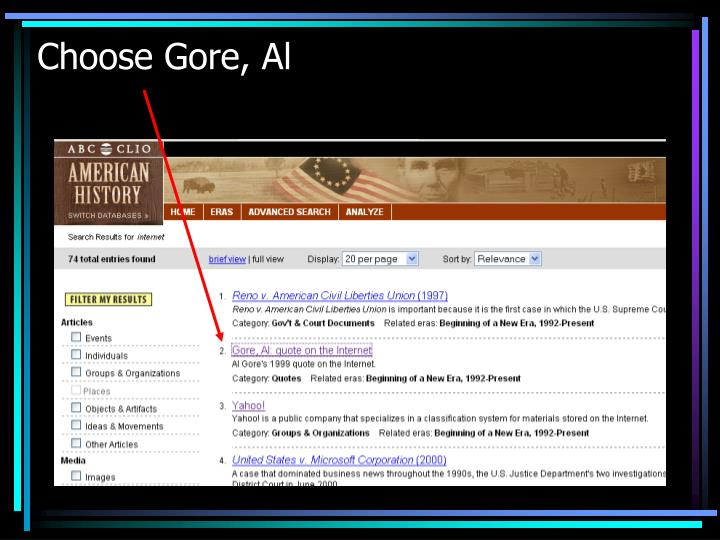 Choose Gore, Al