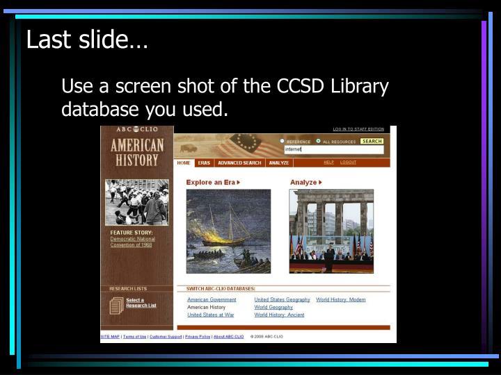 Last slide…