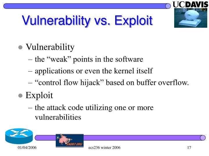 Vulnerability vs. Exploit